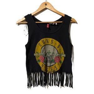 Divided by H&M Guns N Roses Fringe Design tank top